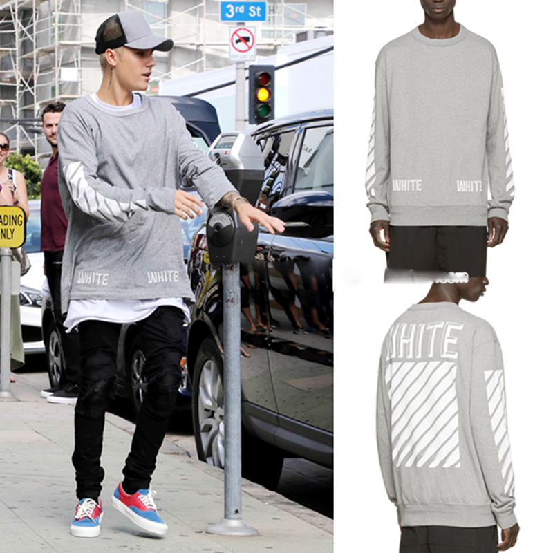 High Quality Cool Fashion Trend Off White Justin Bieber Thermal Men Hip Hop Long Sleeve