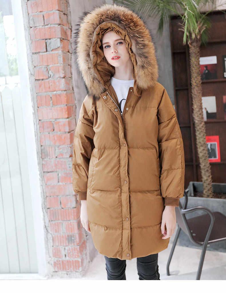 bcc4a55245fd Winter fashion brand good quality big real fur collar duck down coat female  zipper stitching hooded