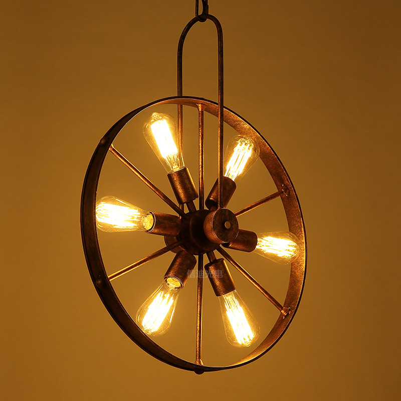 Loft Chandelier Industrial Wind Wheel pendent Lamp Creative Cafe Restaurant Personality Retro American Iron Chandelier A 91