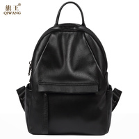 QIWANG Famous Brand Preppy Style Leather Ruched Backpack Bag For Women Casual Daypacks Mochila Female 2