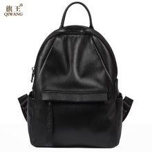 a9a0d0d679f QIWANG Famous Brand Preppy Style Leather Ruched Backpack Bag For Women  Casual Daypacks mochila Female 2 Side Zipper Pocket 9959