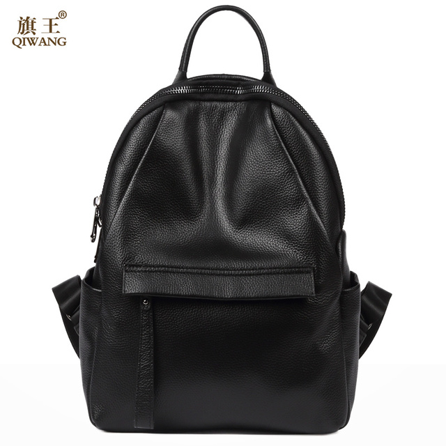 Qi Famous Brand Preppy Style Leather Ruched Backpack Bag For Women Casual Daypacks Mochila Female 2