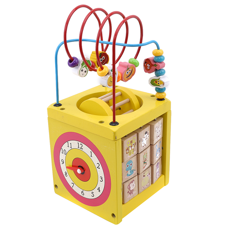 6 In 1 Wooden Bead Maze Activity Center Box Cube Wood Toys For Kids Multipurpose Educational Skill Improvement Model Building Blocks
