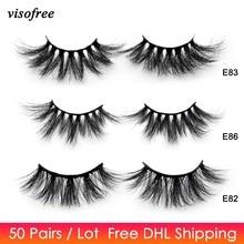 50 คู่ฟรี DHL Visofree 25 มม. Lashes Mink Lashes นุ่มยาว 3D ขนตาปลอม Crisscross Full Volume Eye แต่งหน้า
