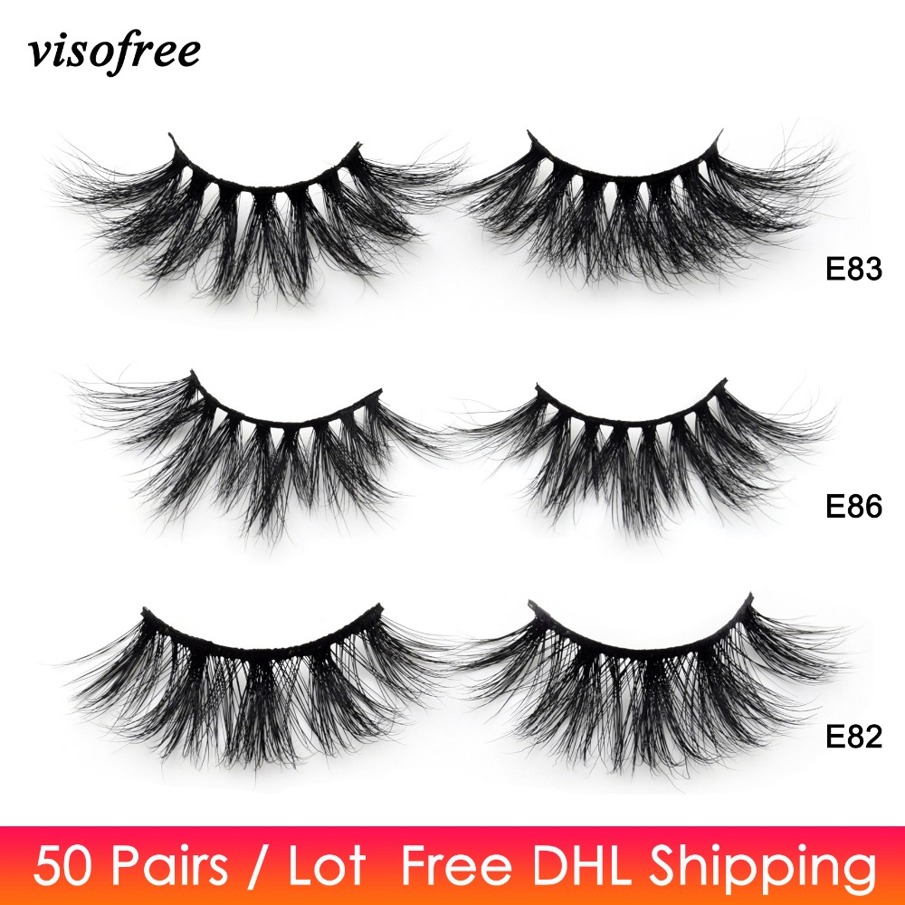 50 Pairs Free DHL Visofree 25mm Lashes Dramatic Mink Lashes Soft Long 3D Mink Eyelashes Crisscross Full Volume Eye Lashes Makeup