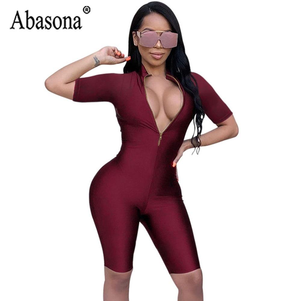 Abasona Wine Red Deep V Neck Zipper Bodycon Playsuit Women Short Sleeve Half Jumpsuit Women Nightclub Sexy Jumpsuit Hollow Out Women's Clothing
