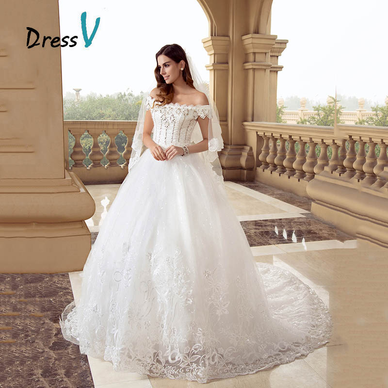 Dressv lace princess ball gown wedding dresses off the for Wedding dresses to buy off the rack