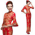 Red Lace Cheongsam Dress Women Dragon Phoenix Dress Red Chinese Wedding Dresses 2 Pieces Plus Size Long Robes Cheongsam Qipao