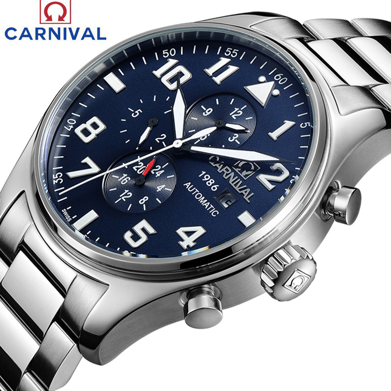 Carnival Sapphire Automatic Mechanical Watch Men silver Stainless steel waterproof blue Watch relogio masculine fashion watch men power reserve silver stainless steel automatic mechanical sapphire waterproof white watch relogio masculino