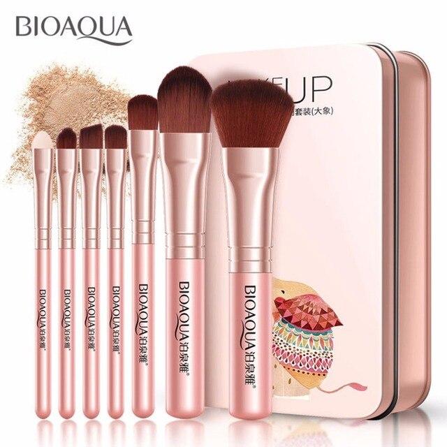 BIOAQUA Juego de 7 brochas de maquillaje para mujer, conjunto de brochas de maquillaje para rostro, cosmética Facial de belleza para ojo, sombra, base, colorete, brocha de maquillaje