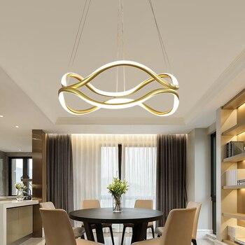 זהב מודרני LED תליון אורות סלון מסעדה בר קפה בית אקריליק אלומיניום גוף תליון מנורת משלוח חינם