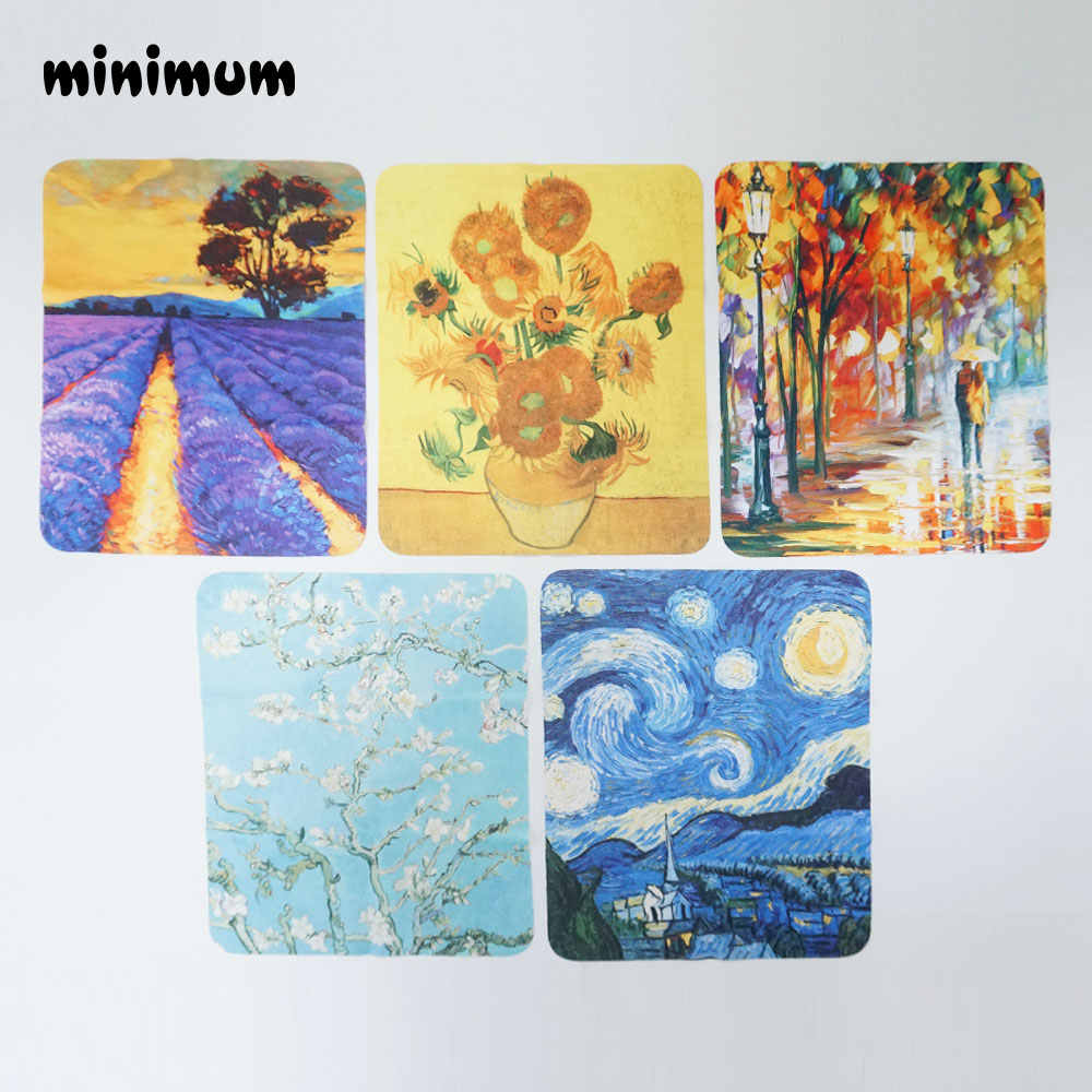 5/pcs Retro oil painting Glasses Cloth Microfiber Clean Lens Dust Wiper Camera Screen Cleaner Soft Suede Deer skin flannelette