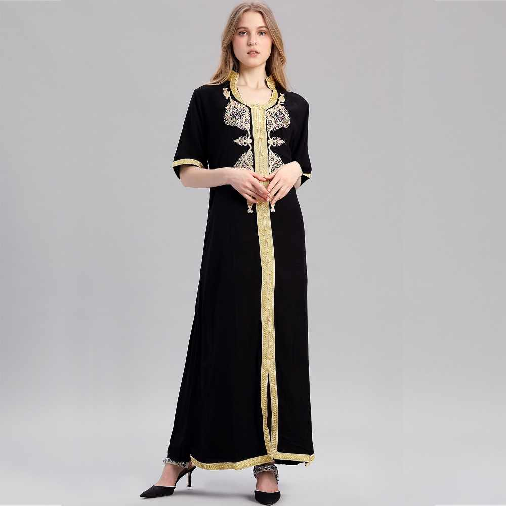 Women islamic clothing Maxi Long sleeve long Dress moroccan Kaftan  embroidery dress vintage abaya Muslim Robes 139454493321