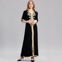 Для женщин Исламская одежда макси с длинным рукавом длинное платье марокканской кафтан платье с вышивкой Винтаж Абая мусульманских Халаты платье хиджаб стиль