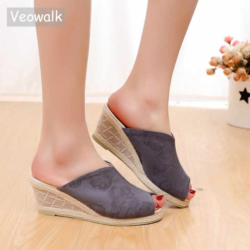 44bcfcdebaa Veowalk Peep Toe Women Cotton Fabric Slide Wedge Slippers Summer Handmade  Embroidered Ladies Comfort Platform Espadrilles