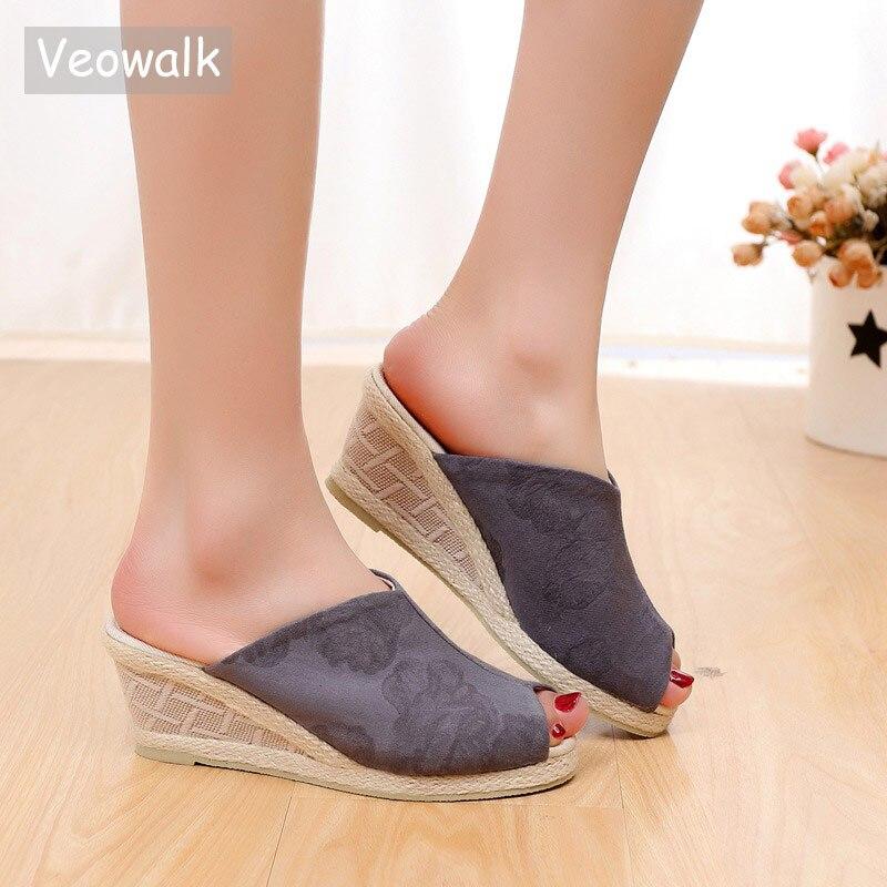 50d47f50d3b Veowalk Peep Toe Women Cotton Fabric Slide Wedge Slippers Summer Handmade  Embroidered Ladies Comfort Platform Espadrilles Shoes