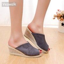 Veowalk Peep Toe Women Cotton Fabric Slide Wedge Slippers Summer Handmade Embroidered Ladies Comfort Platform Espadrilles Shoes