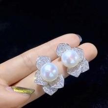 11 12MM naturalna perła słodkowodna stadnina kolczyk 925 srebro z sześcienną cyrkonią liść stadnina kolczyk piękne kobiety biżuteria