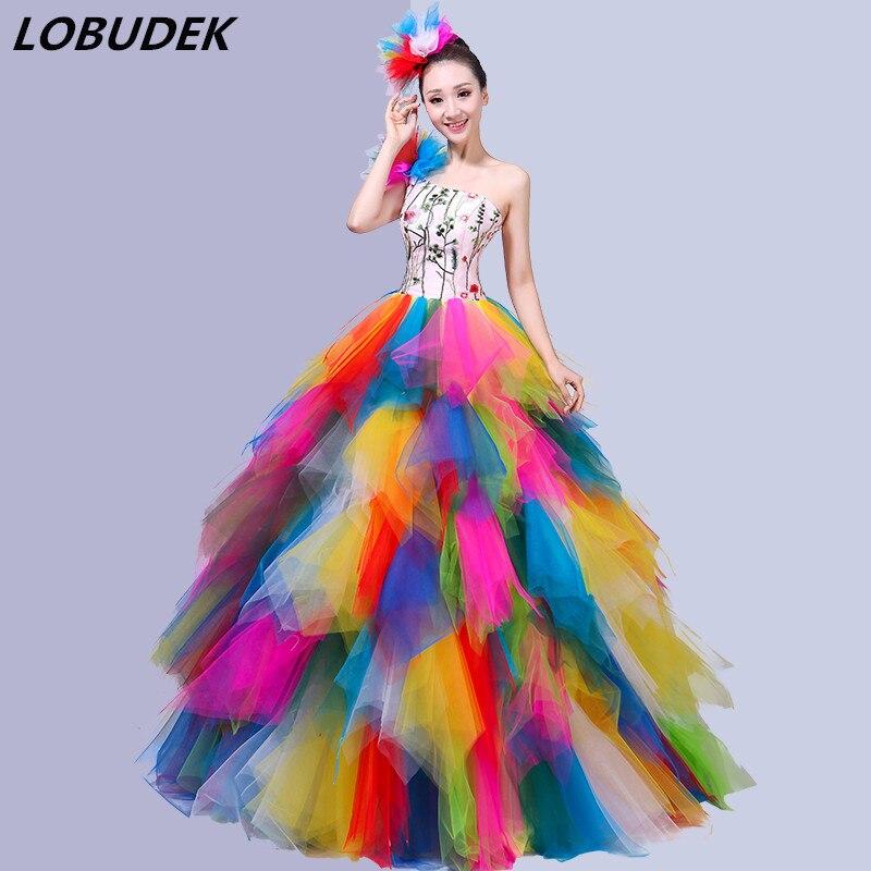 Broderie multicolore dos nu longue robe femmes moderne danse Costumes ouverture danse bulle courte robe chanteur spectacle scène porter