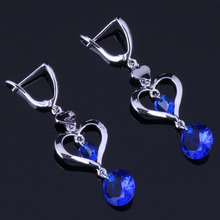Elegant Heart Shaped Round Blue Cubic Zirconia 925 Sterling Silver Drop Dangle Earrings For Women V0829