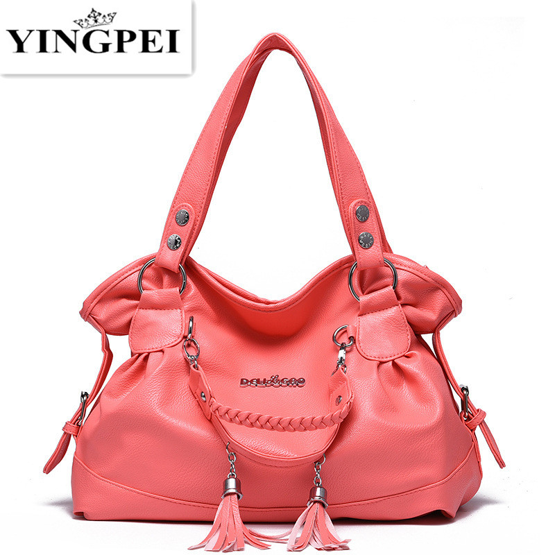 YINGPEI women shoulder bags Solid Top-Handle handbag ladies pu leather tote Hot Pink gray Khaki luxury tote purses High quality