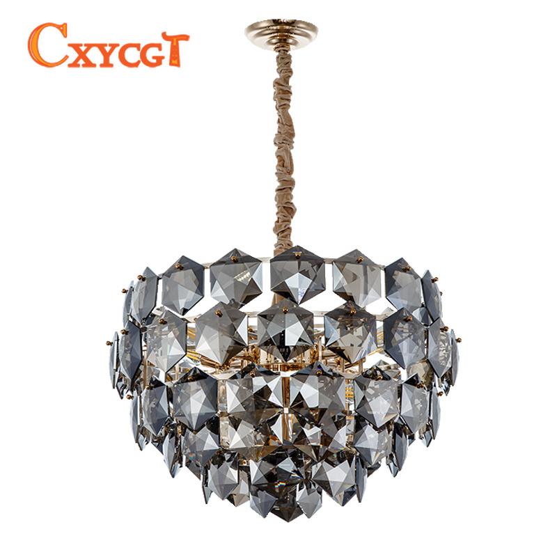 Modern Luxury Chandelier Lighting Smoky Gray Crystal Lamp Round Chain LED Cristal Lustre Living Dining Room Hang Light