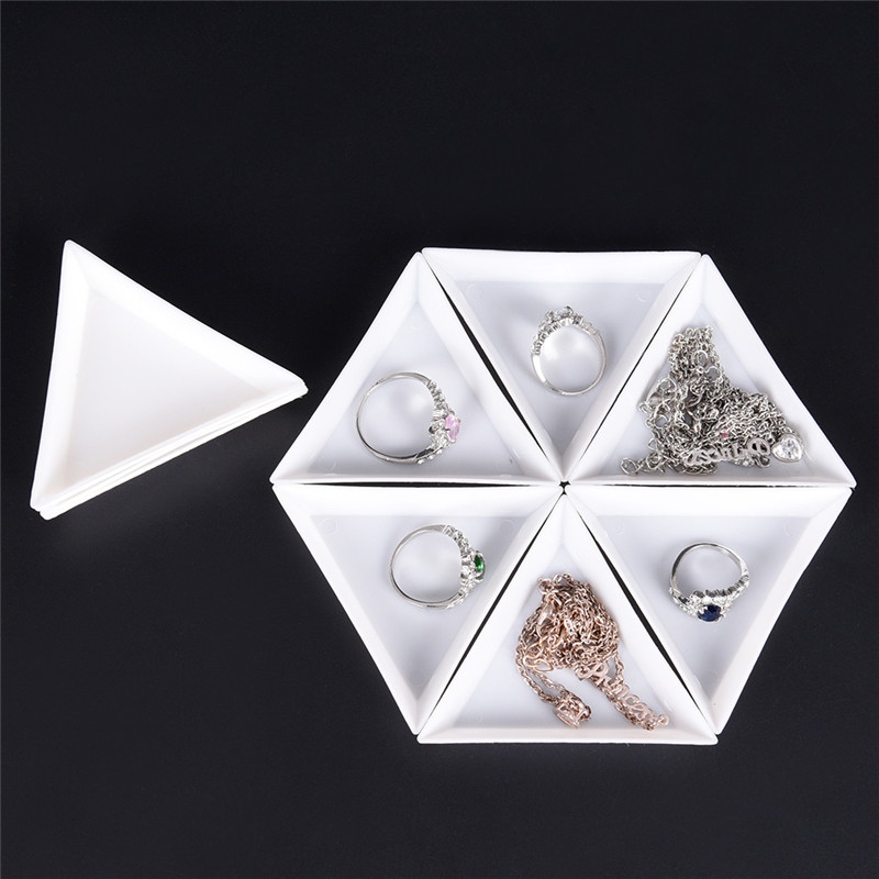 10 Pcs White Containers For Beads Display  PP Triangle Plate For Jewelry Beads Organizer Plastic Tray Packaging 7.2x6.3 Cm