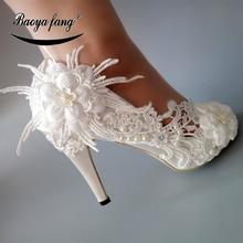 BaoYaFang 새로운 화이트 레이스 꽃 신발 여자 하이힐 펌프 여자 결혼식 신발 들여다 발가락 패션 신발