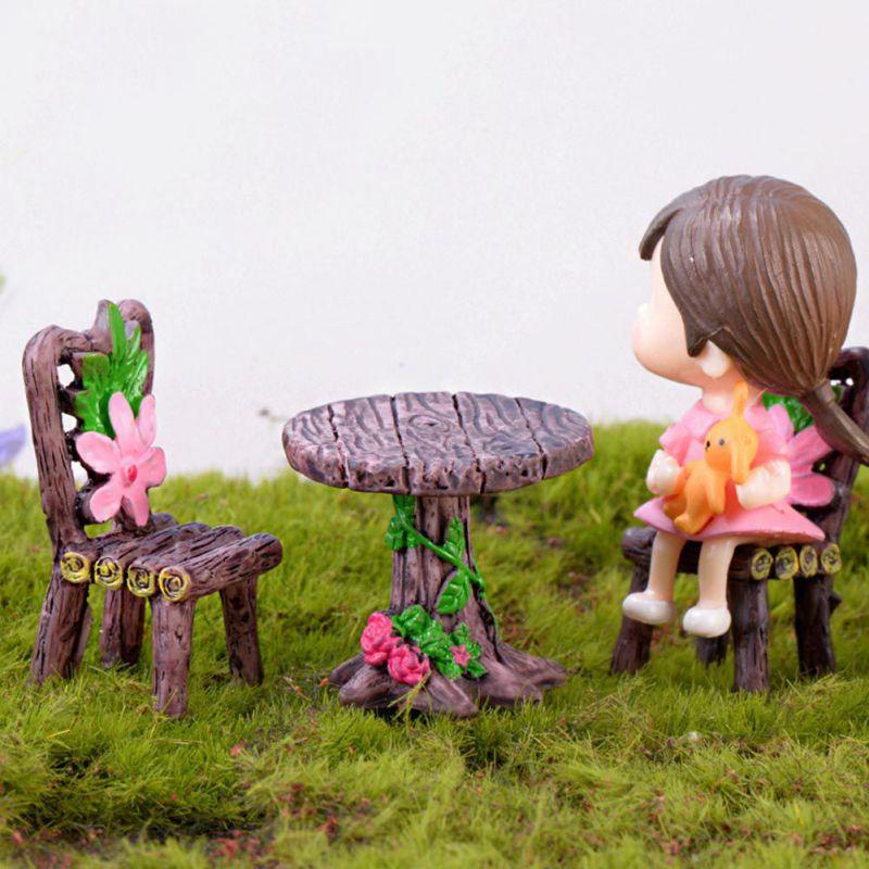 Modern Table Chair Resin Craft Micro Landscape Ornament Fairy Garden Miniature Terrarium Figurine Home Decoration Accessories