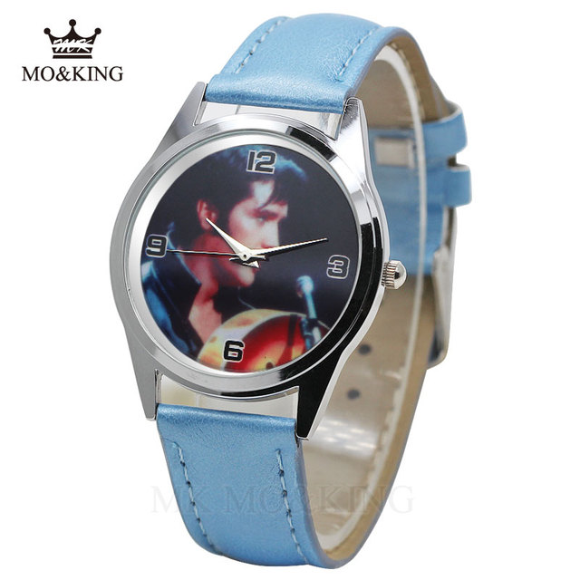 The New Elvis Presley Fashion Wrist Watch For Primary and middle school Boy Girl Black Leather Band Color Picture Children watch