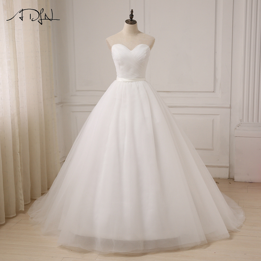 ADLN Cheap Wedding Dress Top Pleats Sweetheart A-line Tulle Bridal Wedding Gowns Sweep Train Back Customized Plus Size