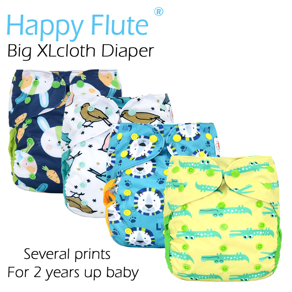 Happy Flute Big XL cloth diaper cover for Baby 2 Years and Older, stay-dry inner,adjustable size, fits waist 36-58 cmHappy Flute Big XL cloth diaper cover for Baby 2 Years and Older, stay-dry inner,adjustable size, fits waist 36-58 cm
