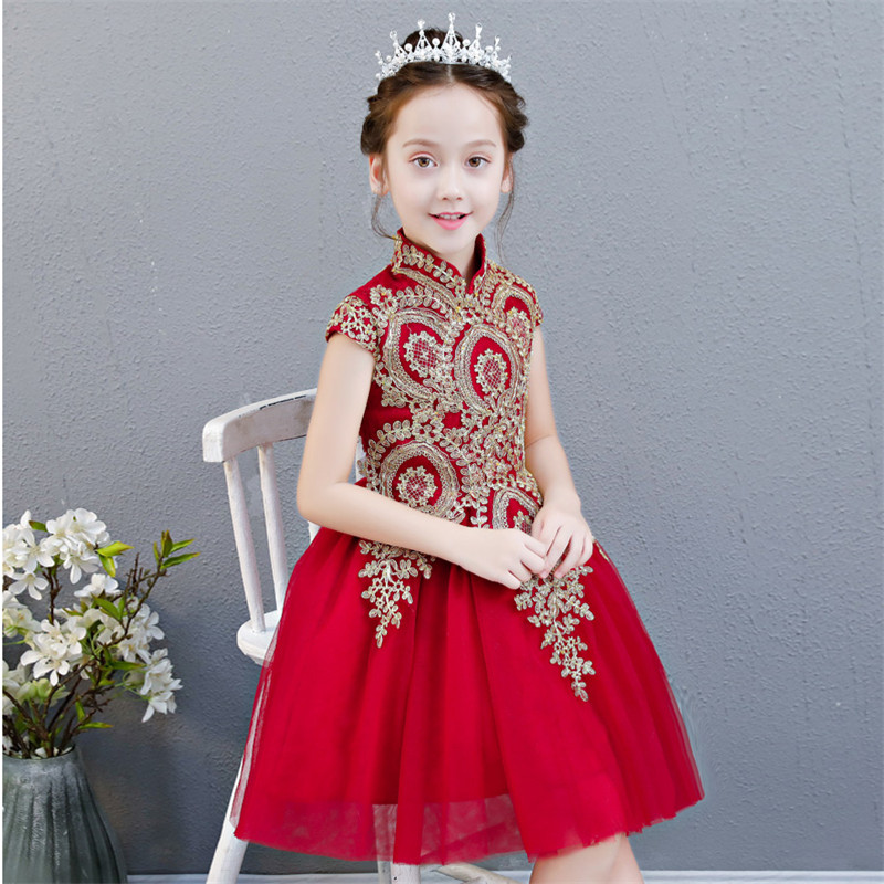Children Girls Luxury Embroidery Lace Birthday Wedding Party Short Mesh Prom Dress Baby Kids Dance Tutu Pageant Lace Gown Dress girls embroidery detail contrast lace hem dress