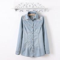 6252 Denim Shirt Geometry Embroidery Water Washed Denim Shirt Female