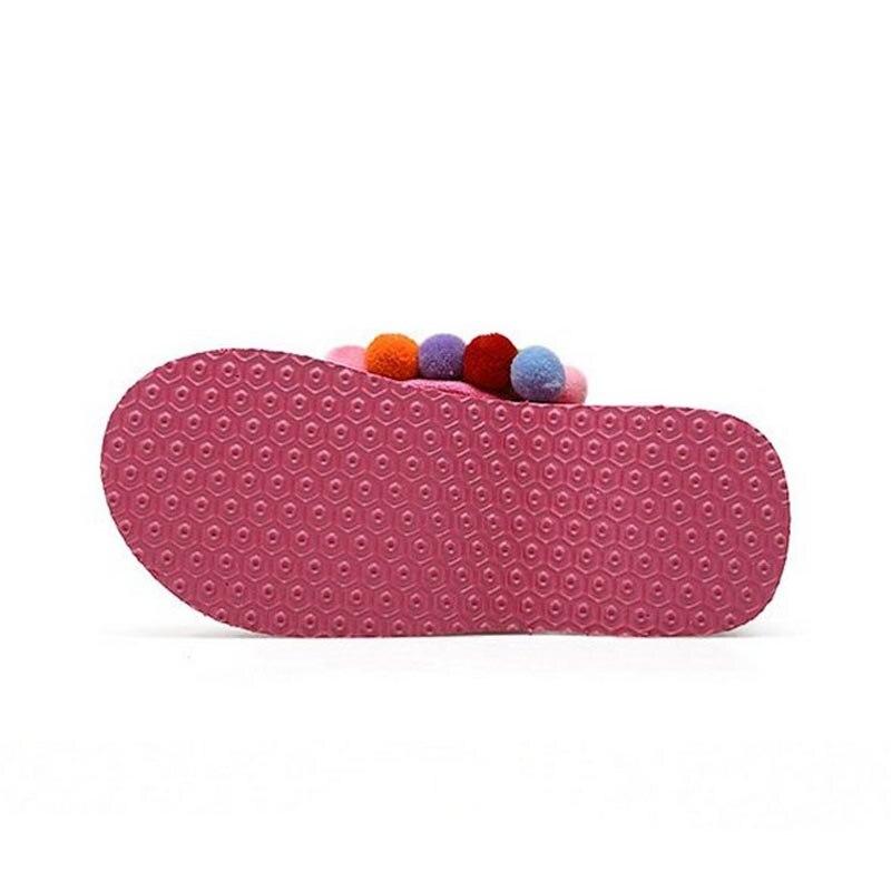 Coolcept Summer Flip Flops Shoes Women Sweety Pompon Soft Slippers Women Thick Platform Wedges Trifle Footwear Size 35-39