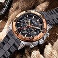 MEGIR Watches Mens Sports Steel silicone scrub band Military Multifunction Watch Men Casual Quartz Wristwatch Clock