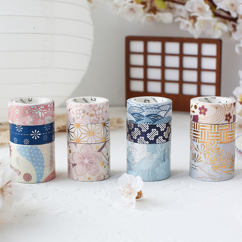 3Pcs/Set Cute Japanese Bronzing Cherry Blossom Washi Tape Decorative Adhesive Tape DIY Scrapbooking Label Masking Tape