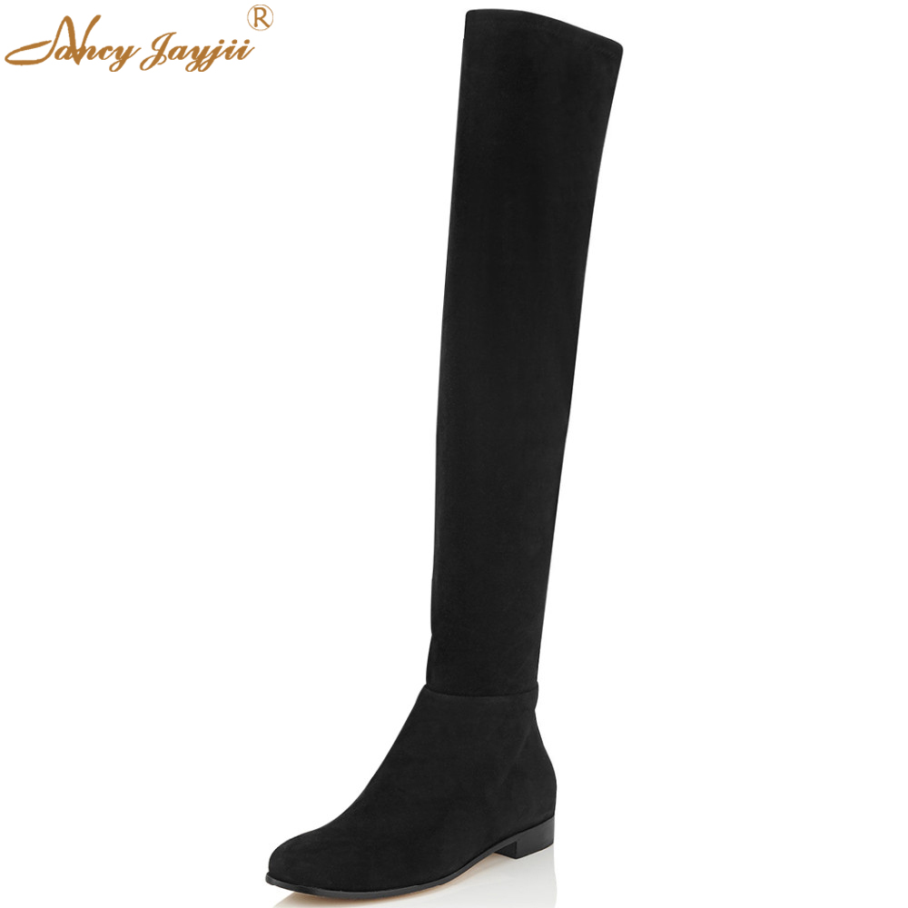 New Black Grey Suede Round Toe Flat Heels Knee High Long Women Boots Fashion Shoes Woman Zapatos Botas Mujer Plus Size 4-16 new women knee high boots black and white sexy low heels pu leather autumn winter shoes round flat platform boots botas mujer