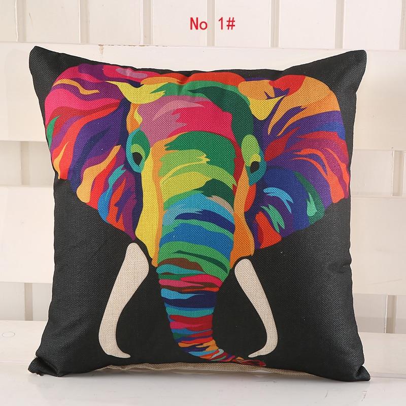 45 Cm * 45 Cm Couleur Elephant Linge Oreiller Couvre Canapé Taie D