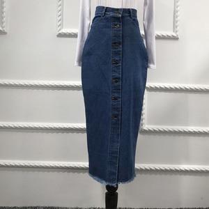 Image 3 - Faldas Mujer Moda 2020 Plus rozmiar Abaya dubaj muzułmanki długi dżinsowy spódnica turecki islamski dżinsy Bodycon długie spódnice