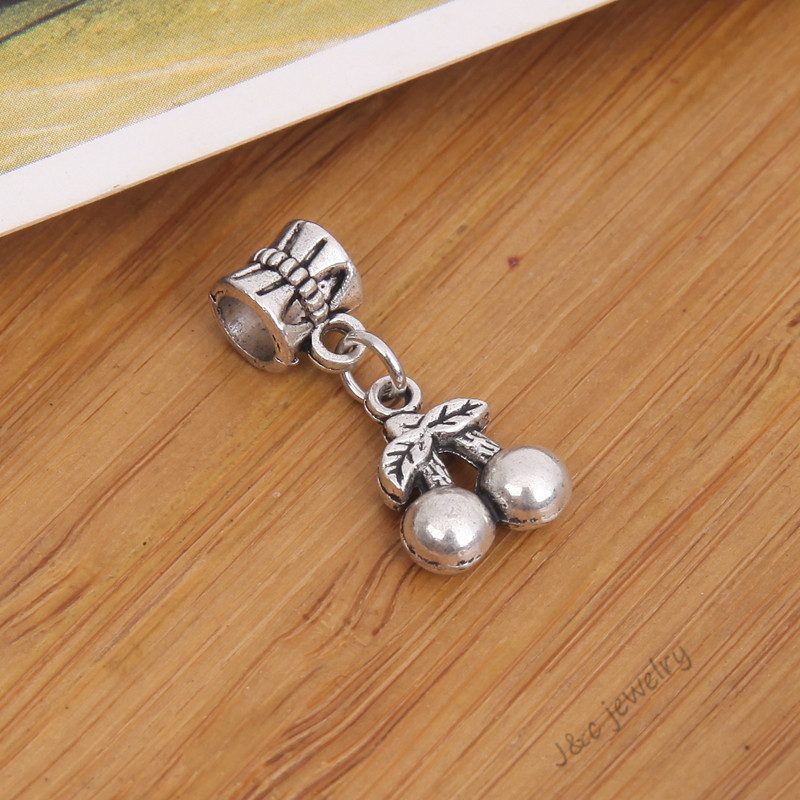 NEW vintage diy jewerly findings 40pcs tibetan silver connect beads metal charms cherry pendant fit hand made bracelets2843