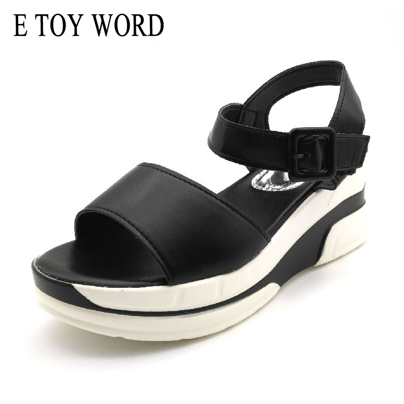 E TOY WORD Fashion Platform Sandals Women 2018 Summer Sandals Soft Leather Casual Open Toe Gladiator wedges Women shoes XWB20146 summer shoes woman platform sandals women soft leather casual open toe gladiator wedges women nurse shoes zapatos mujer size 8