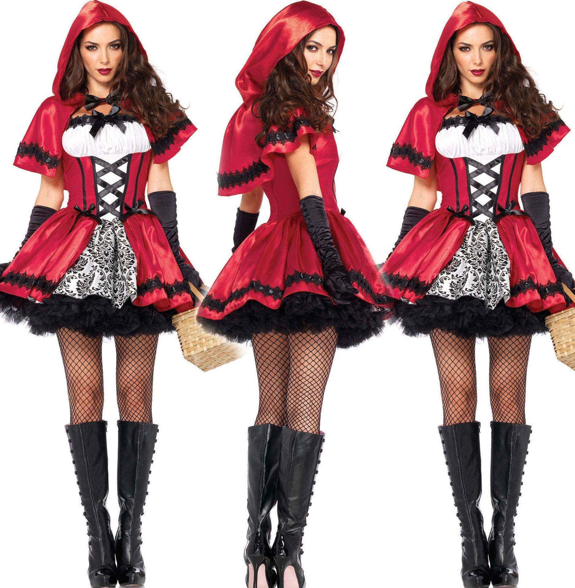 Women Sexy Little Red Riding Hood Adult Costume Fancy Dress Up ...