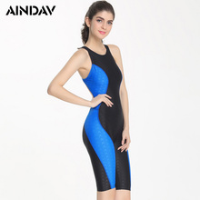 Professional Knee Length Round Neck Swimsuit Women One Piece Sports Bathing Suit Athlete Swimwear Backless Bodysuit Plus Size