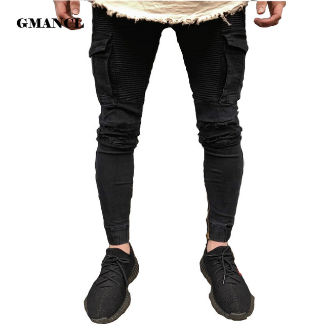 f5aebe57da Black Mens Denim Biker Cargo Skinny Jeans Brand Men Side Pocket Moto Pencil  pants Runway Distressed Motorcycle Joggers Pants