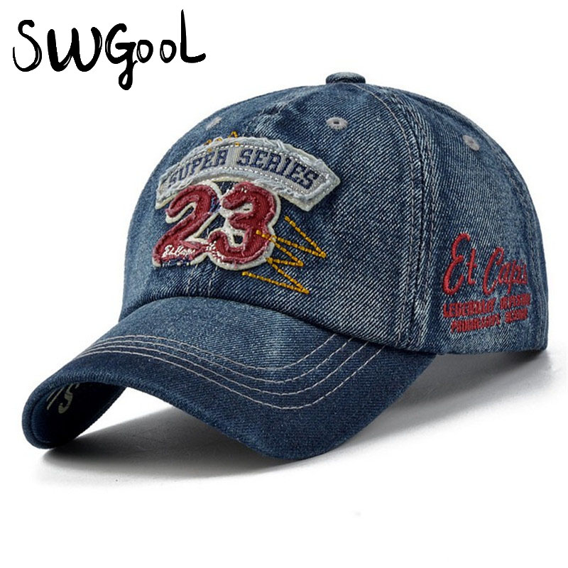 Free shipping 2016 new fashion jeans Hats Sunscreen Baseballs