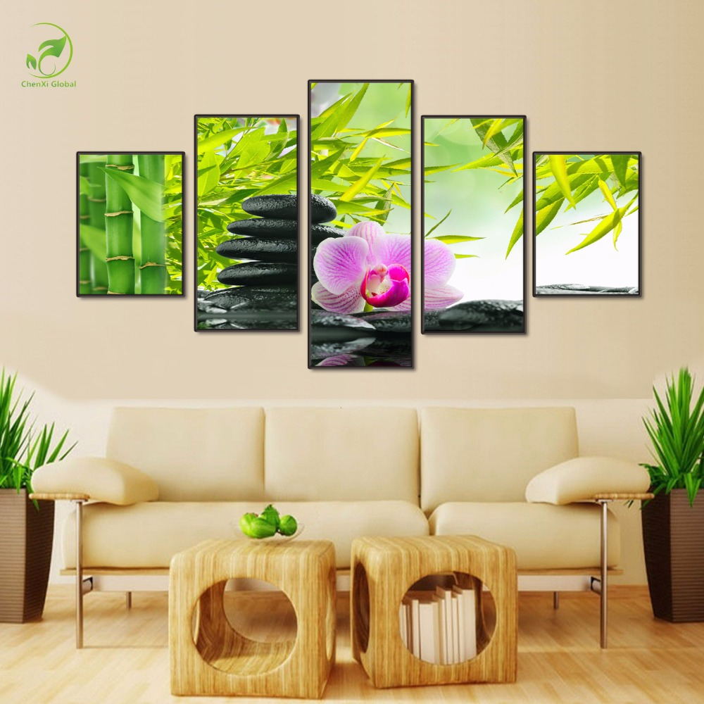 Modern 5 Panels Wall Art Paint Melamine Sponge Board Oil Picture Botanical Feng Shui Orchid Canvas