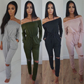 Spring Autumn Sexy Slash Neck Off Shoulder Long Sleeve Jumpsuits Women Casual Drawstring Waist Hollow Out Playsuits Plus Size