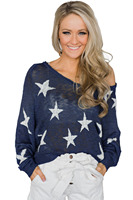 2018 New Arrival Autumn Women's Casual Blue Pink Stars Pattern Knit Sweater LGY27943
