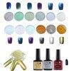 12 Colors Nail Art Shinning Mirror Glitter Powder Chrome Pigment Black Gel Coat F714